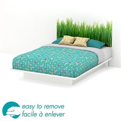 South Shore Step One Queen Grass Decal Platform Bed in White