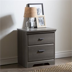 South Shore Versa 2-Drawer Night Stand in Gray Maple