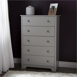 South Shore Vito 5-Drawer Chest in Soft Gray