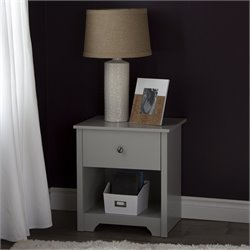 South Shore Vito 1-Drawer Night Stand in Soft Gray