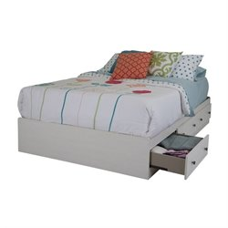 Country Poetry 3 Drawer Mates Bed in White Wash
