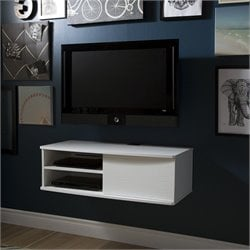 Agora Wall Mounted Media Console in Pure White