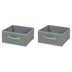 South Shore Crea Polyester Storage Bin in Gray and Turquoise (Set of 2)