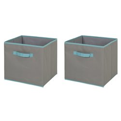 Crea Polyester Storage Bin in Gray and Turquoise (Set of 2)