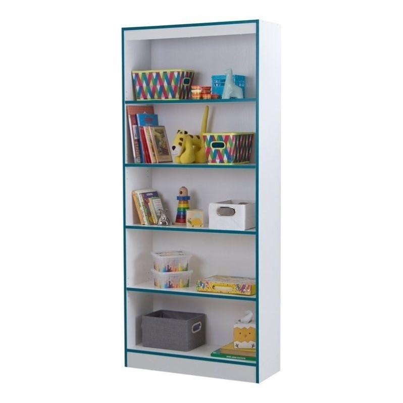 south shore axess 5 shelf bookcase in pure white and. Black Bedroom Furniture Sets. Home Design Ideas