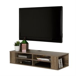 South Shore City Life Wall Mounted Media Console in Weathered Oak