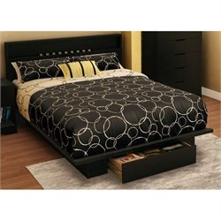 South Shore Trinity Full Queen Panel Platform Bed in Pure Black