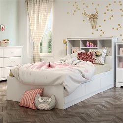 South Shore Callesto Twin Bookcase Mates Bed in Pure White