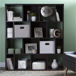 Reveal Cubby Wood Bookcase in Chocolate with 2 Baskets