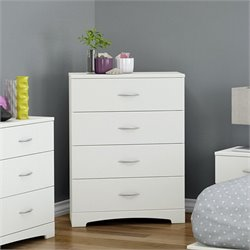 South Shore Step One 4 Drawer Wood Chest in White