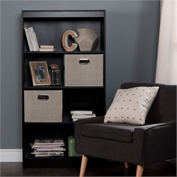 Axess Wood Bookcase in Black with 2 Baskets