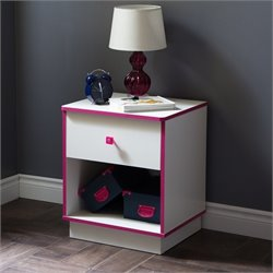 South Shore Logik 1 Drawer Wood Nightstand in White and Pink