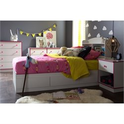 South Shore Logik 4 Piece Wood Twin Bedroom Set in White and Pink