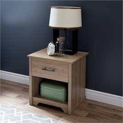 South Shore Fusion 1 Drawer Wood Nightstand in Rustic Oak