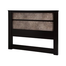 South Shore Gloria King Headboard with Lights in Chocolate and Oak