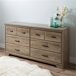 South Shore Versa 6 Drawer Wood Double Dresser in Weathered Oak