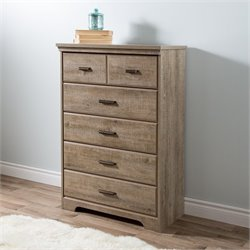 South Shore Versa 5 Drawer Wood Chest in Weathered Oak
