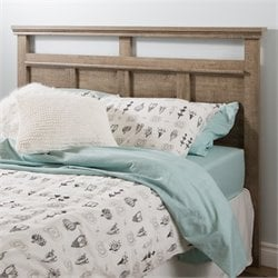 South Shore Versa Wood Full Queen Panel Headboard in Weathered Oak