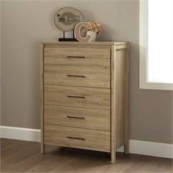 South Shore Gravity 5 Drawer Wood Chest in Rustic Oak