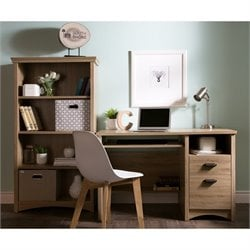 South Shore Gascony 2 Piece Wood Office Set in Rustic Oak