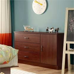 South Shore Libra 3 Drawer Wood Door Chest in Royal Cherry