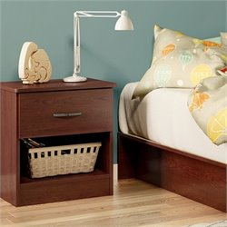 South Shore Libra 1 Drawer Wood Nightstand in Royal Cherry