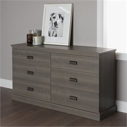 South Shore Gloria 6 Drawer Double Dresser in Gray Maple