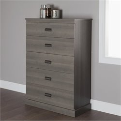South Shore Gloria 5 Drawer Chest in Gray Maple