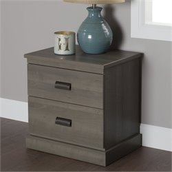 South Shore Gloria 2 Drawer Nightstand in Gray Maple