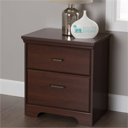 South Shore Versa 2 Drawer Nightstand in Royal Cherry
