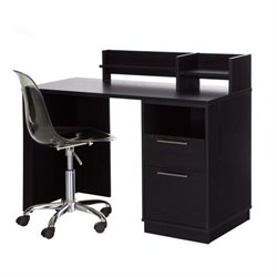 South Shore Academic Computer Desk with Chair in Black Oak