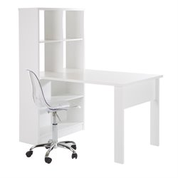 South Shore Annexe Computer Desk with Chair in Pure White