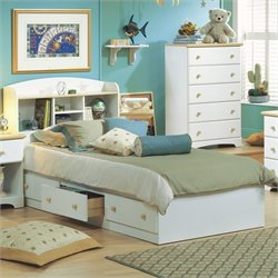 South Shore Newbury Twin Mates Bed in White