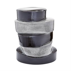 Dimond Home Stacked Ovals End Table in Black and Gray