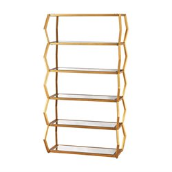 Dimond Home Anjelica 5 Shelf Bookcase in Gold Leaf