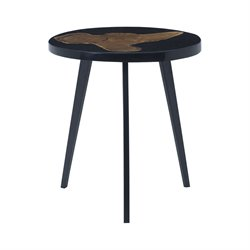 Dimond Home Alemann End Table in Black and Teak Woodtone