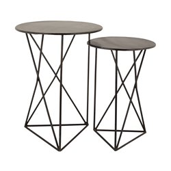 Dimond Home Geometric 2 Piece End Table Set in Black
