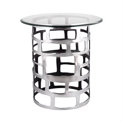 Dimond Home Organic Cutouts End Table in Polished Aluminium