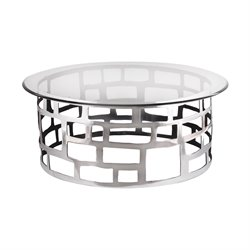 Dimond Home Organic Cutouts Round Coffee Table in Polished Aluminium
