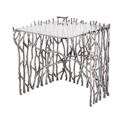 Silvered Sticks End Table in Antique Nickel