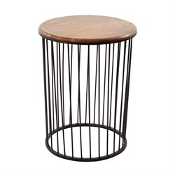 Dimond Home Teak and Metal End Table in Bronze and Teak