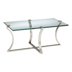 Sterling Uptown Coffee Table in Polished Nickel and Clear Glass