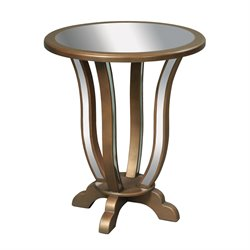 Sterling Manama Mirrored End Table in Gold Leaf
