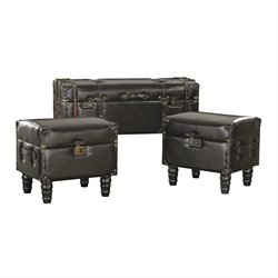 Sterling 3 Piece Trunk Ottoman Set in Dark Tan