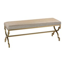 Sterling Bench in Gold and Cream Linen