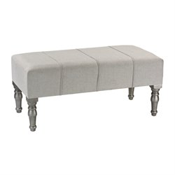 Sterling Bench in Gray Linen and Silver