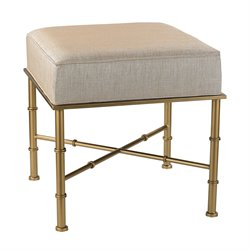 Sterling Bench Vanity Bench in Cream Metallic Linen and Gold