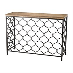 Sterling Agra Console Table in Black and Natural Oak
