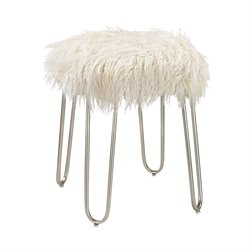 Sterling Foot Stool in White Faux Fur and Silver