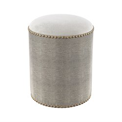 Sterling Sands Point Vanity Bench in Gray Faux Shagreen